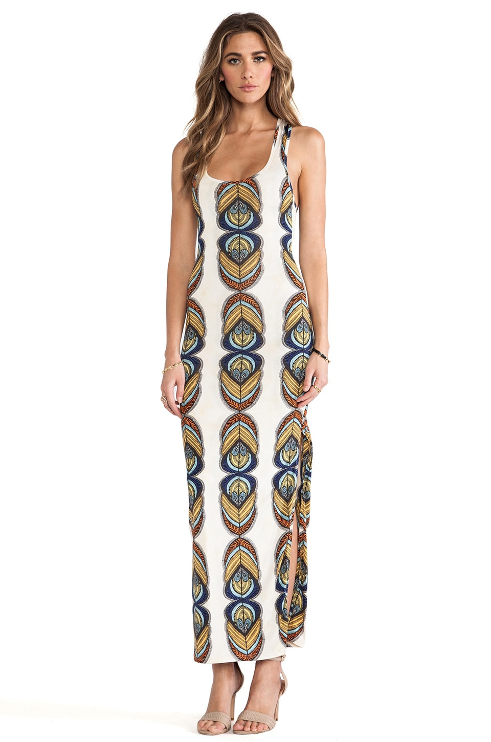 T-Bags LosAngeles Racer Back Maxi Dress w/ Slits in Ivory Feather