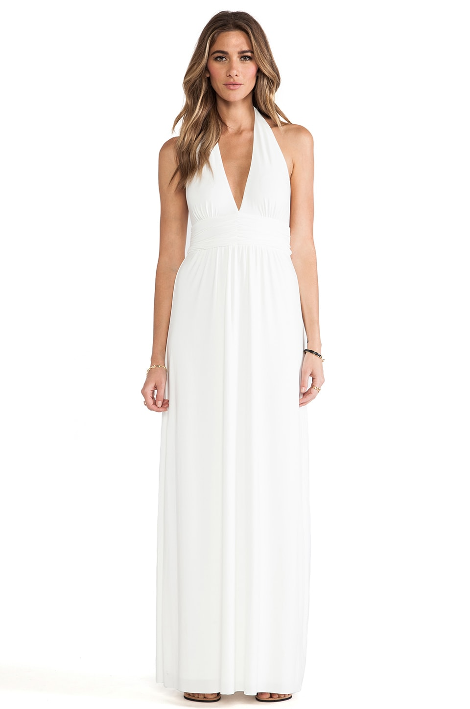 T-Bags LosAngeles Plunging Halter Maxi Dress in White