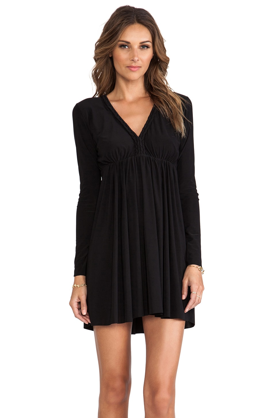 T-Bags LosAngeles Long Sleeve Open Back Dress in Black