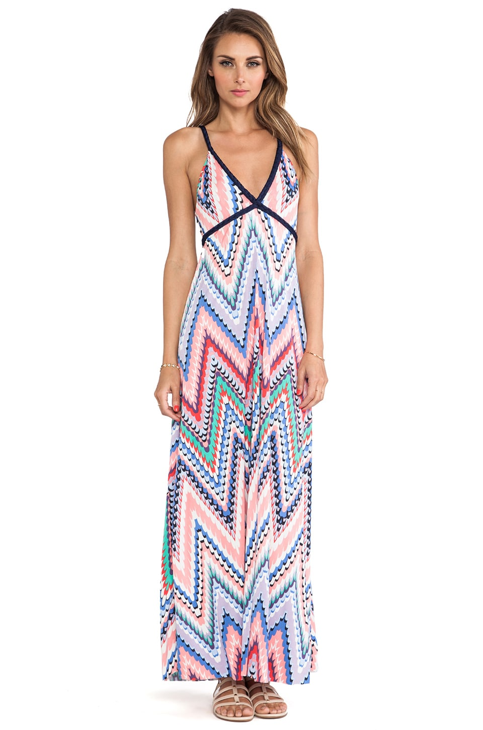 T-Bags LosAngeles Wrap Around Tie Maxi Dress in Zig Zag Multi