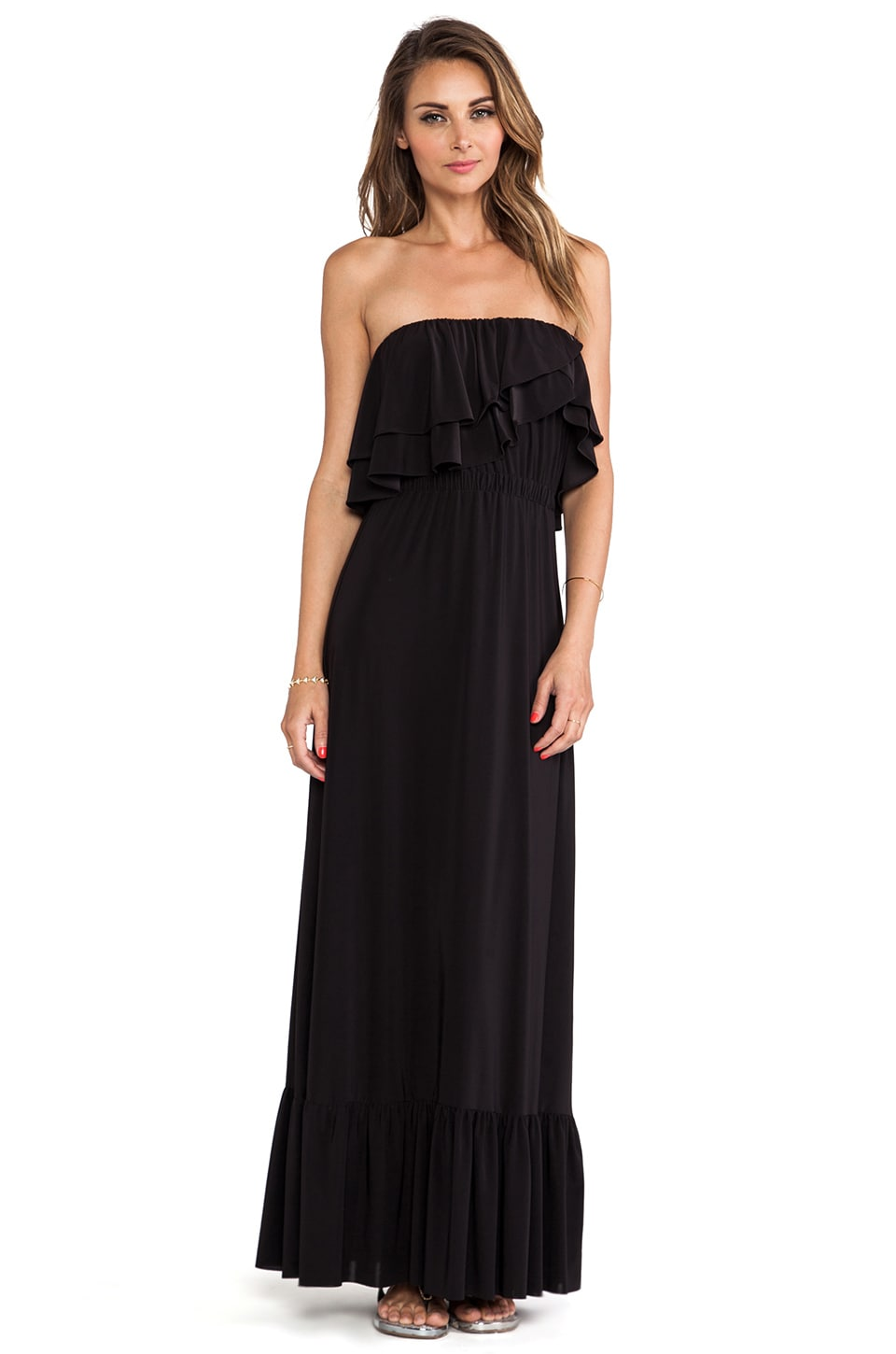 T-Bags LosAngeles Strapless Ruffle Top Dress in Black