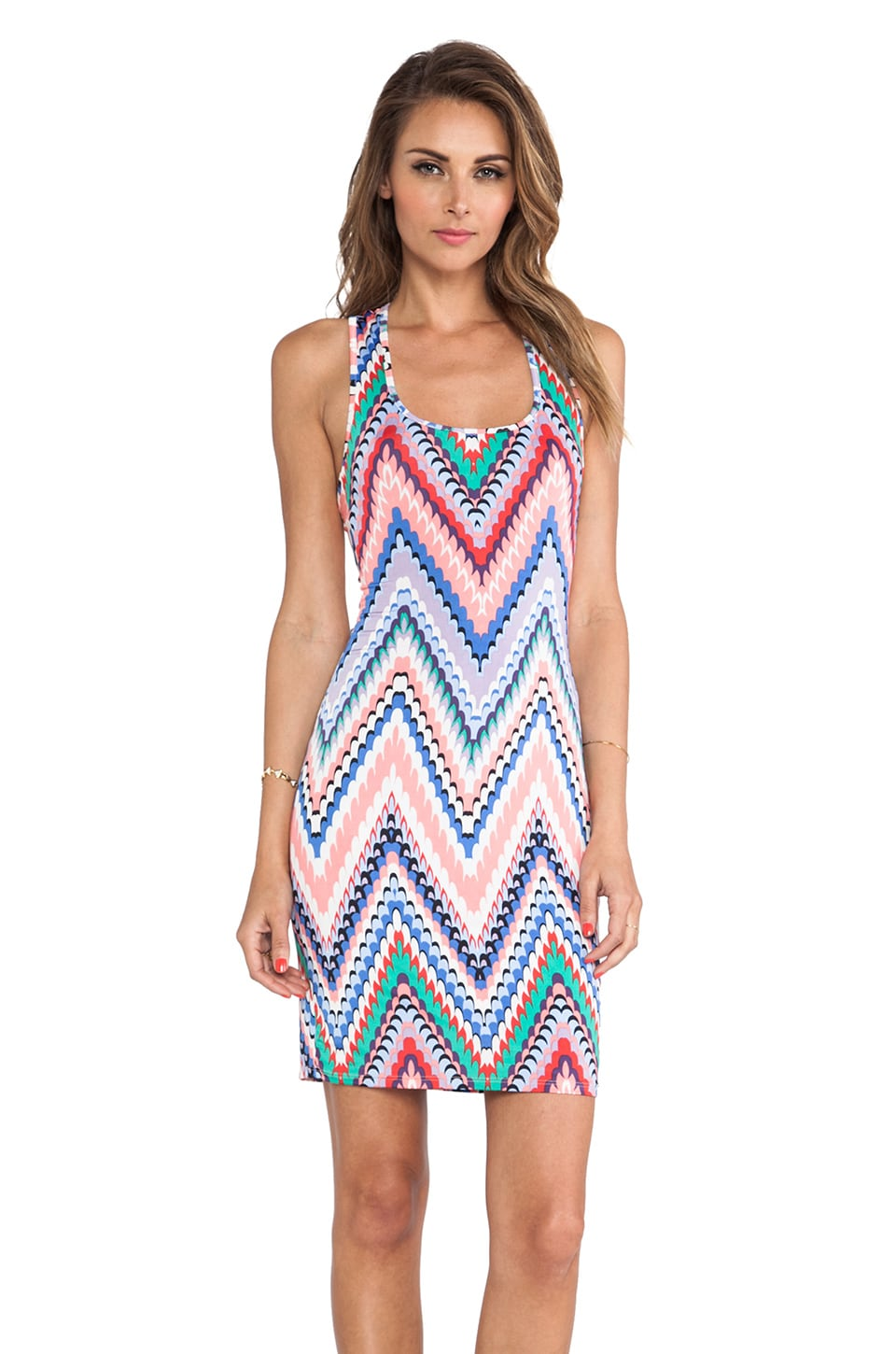 T-Bags LosAngeles Printed Tank Dress in Zig Zag Multi