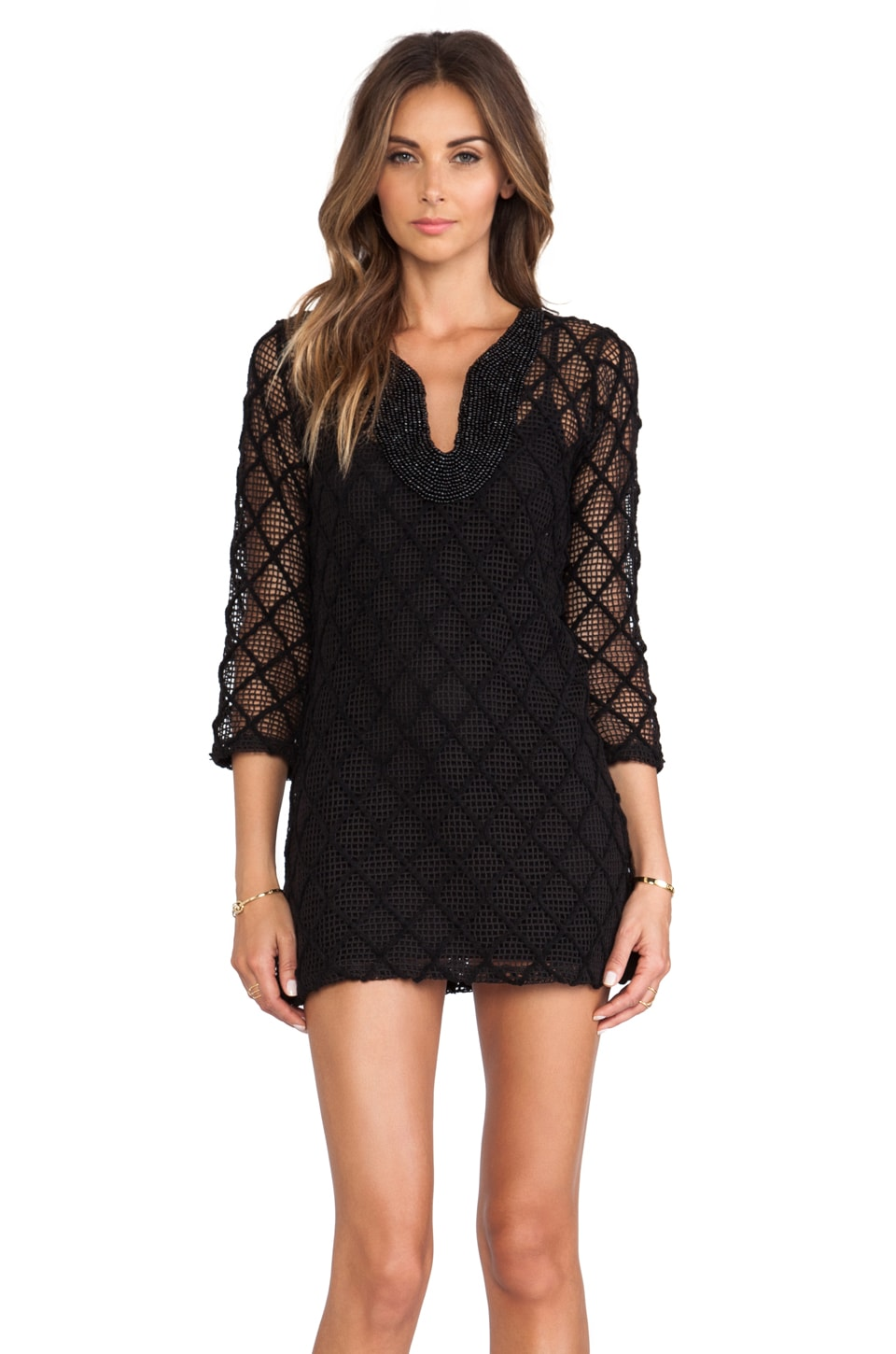 T-Bags LosAngeles Long Sleeve Mini Dress in Black Crochet