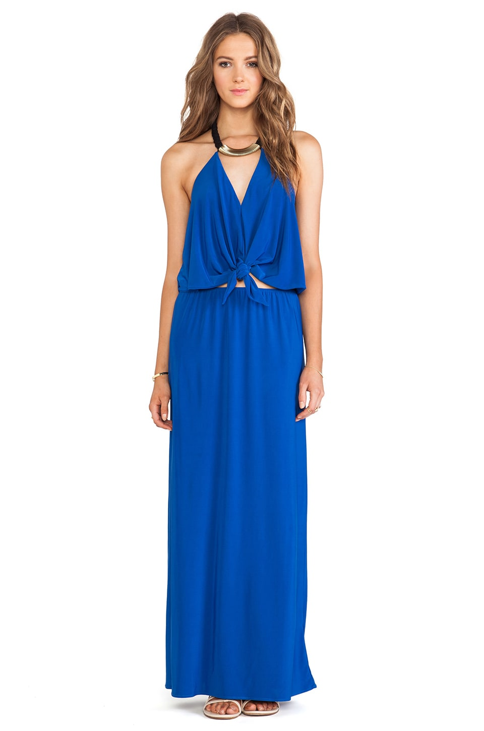 T-Bags LosAngeles Tie Front Maxi Dress in Cobalt