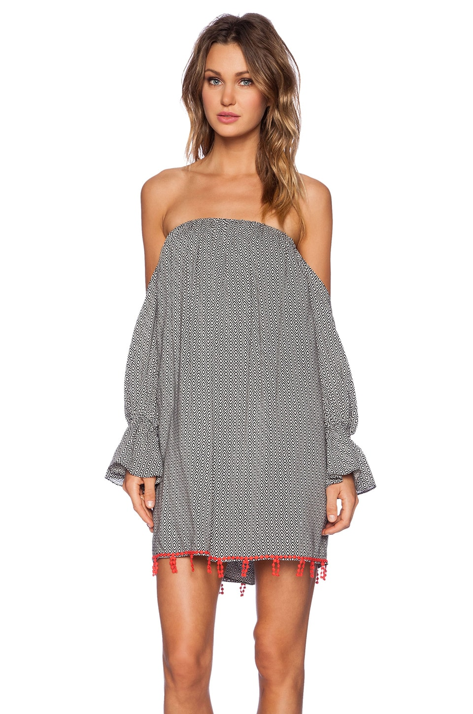 T-Bags LosAngeles Cold Shoulder Dress in Black & White Geo