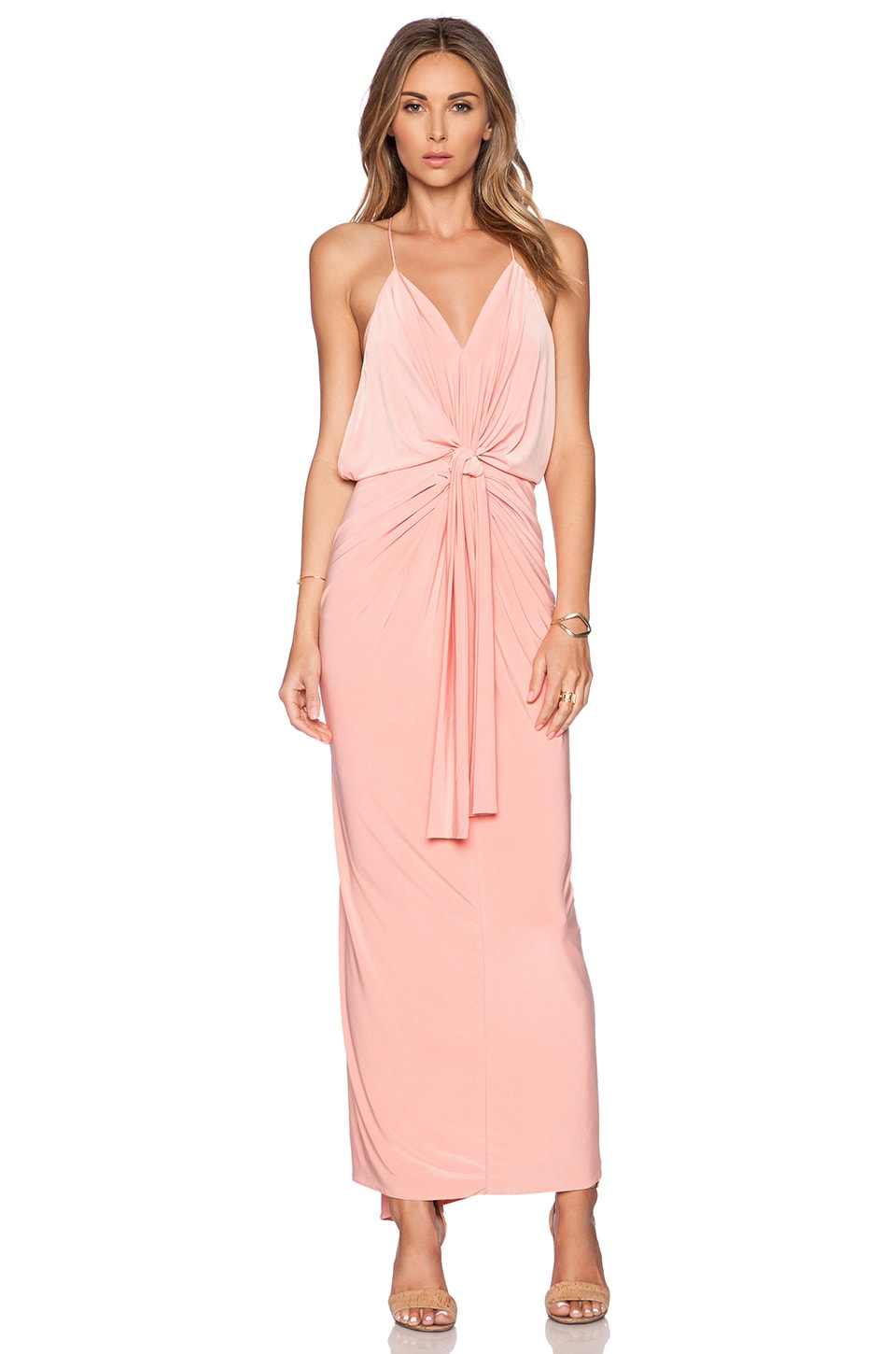T-Bags LosAngeles T-Bags Domino Tie Front Maxi Dress in Blush ...