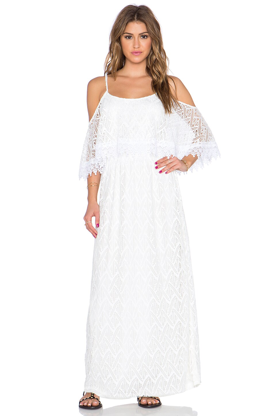 T-Bags LosAngeles Lace Maxi Dress in Pearl
