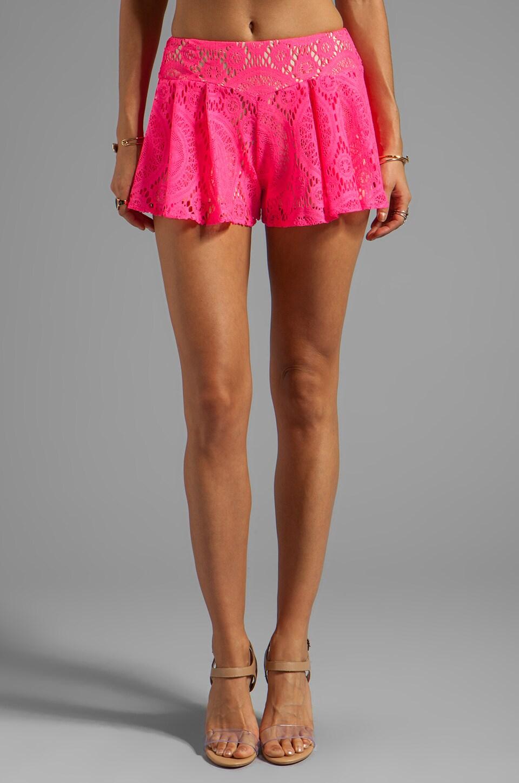 T-Bags LosAngeles Crochet Shorts in Neon Fuchsia