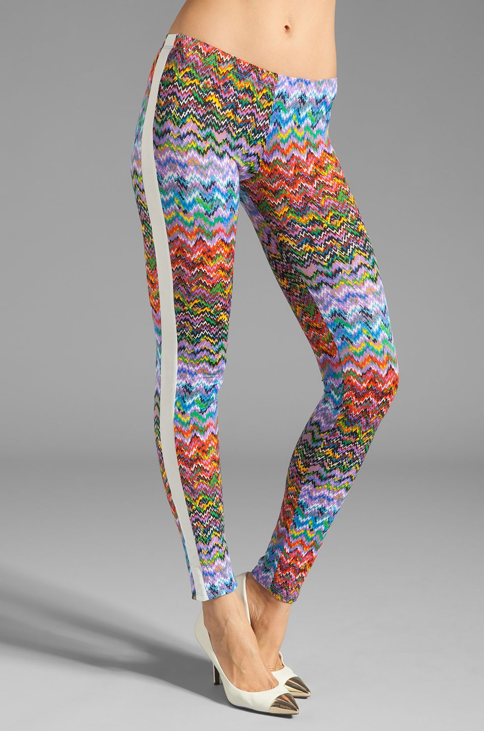T-Bags LosAngeles Leggings with Faux Leather Trim in Rainbow