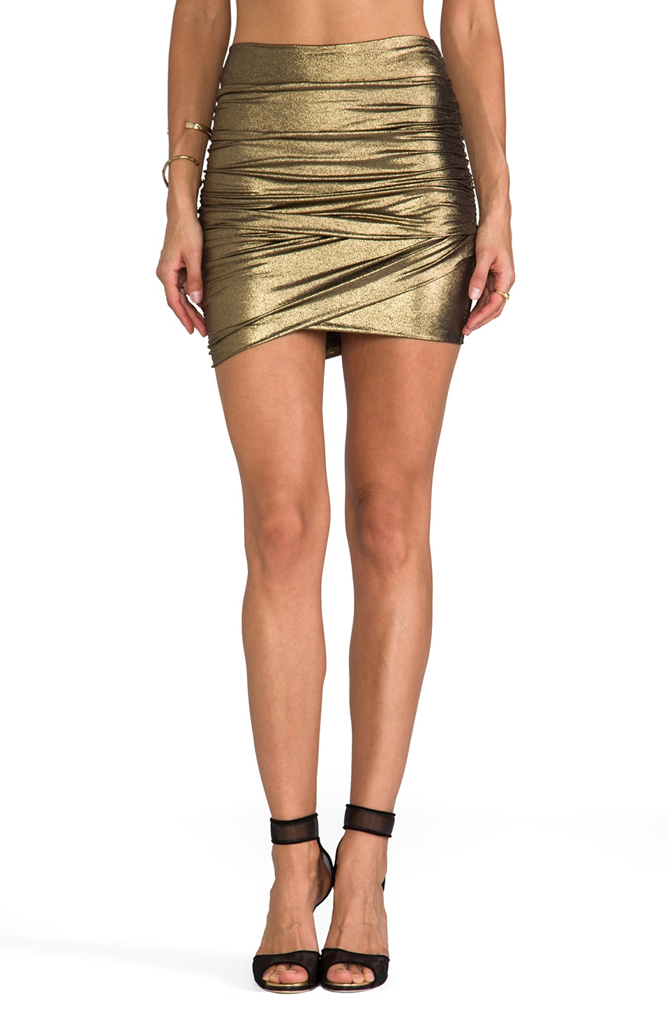 T-Bags LosAngeles Mini Skirt in Gold Metallic