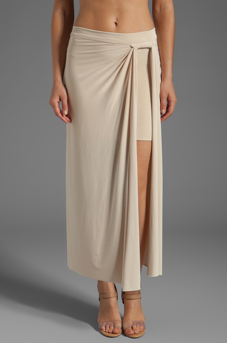 T-Bags LosAngeles Side Slit Maxi Skirt in Cream