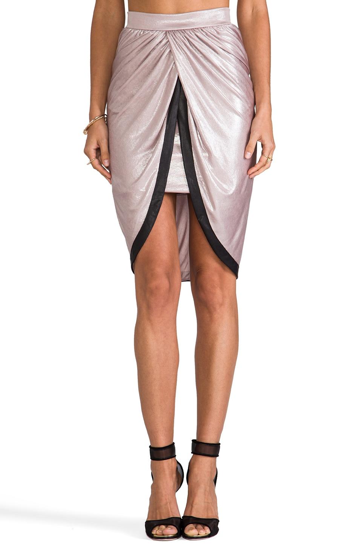 T-Bags LosAngeles Satin Knot Skirt in Metallic Mocha