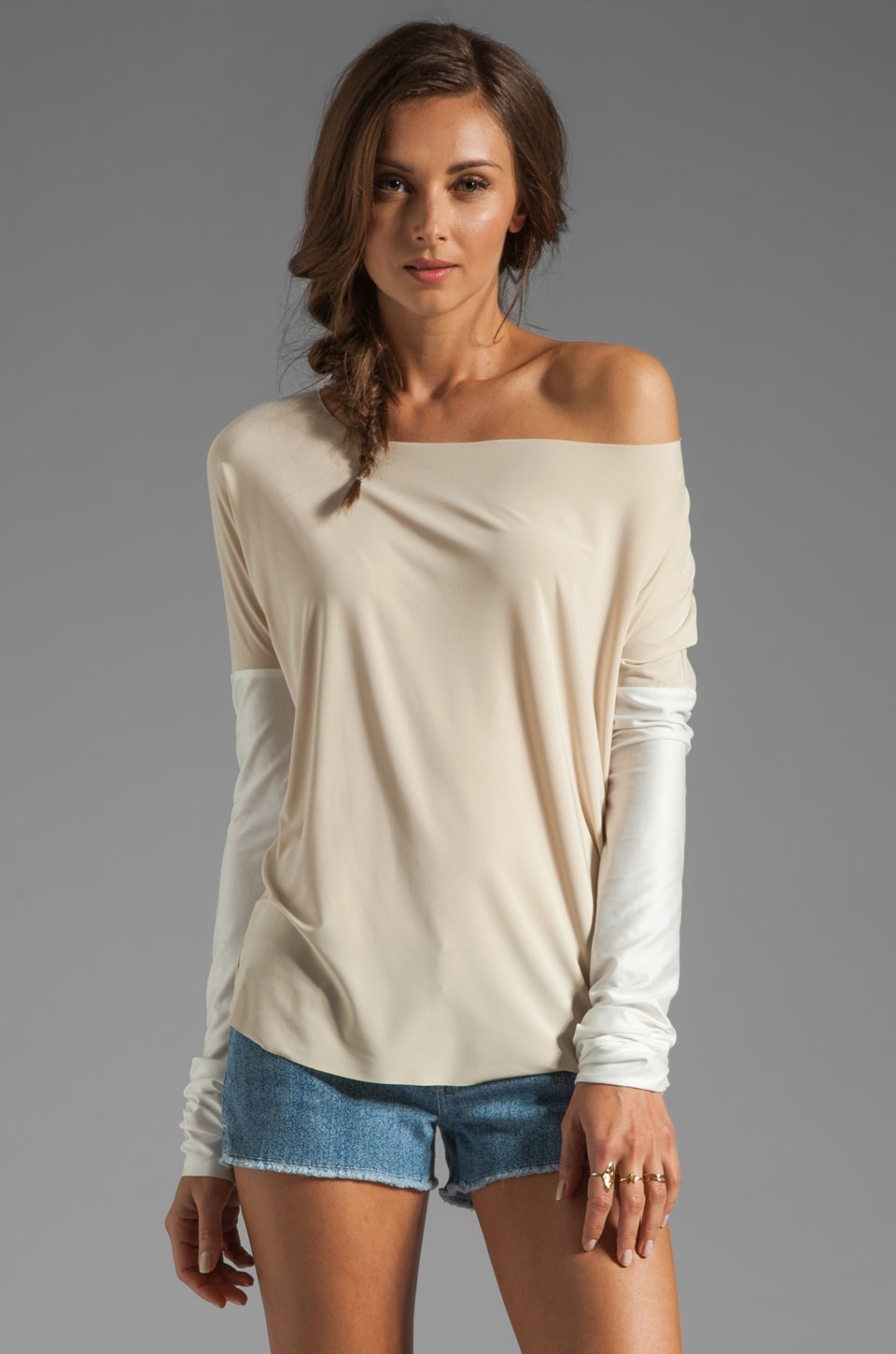 T-Bags LosAngeles Faux Leather Sleeve Top in Cream