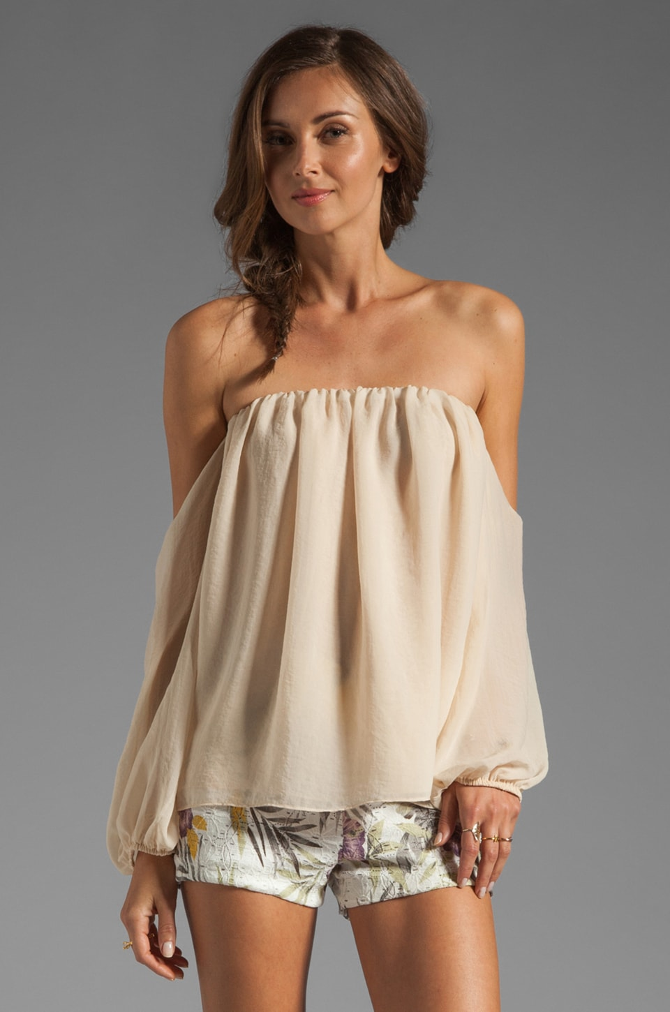 T-Bags LosAngeles Cut Out Sleeve Blouse in Beige