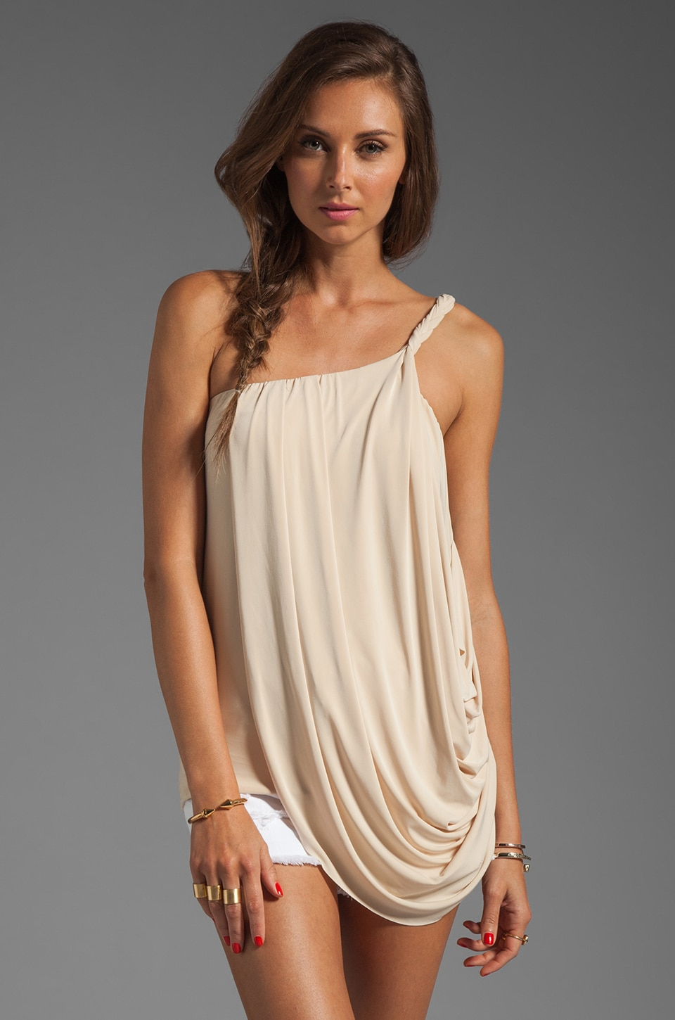 T-Bags LosAngeles One Shoulder Drape Tank in Cream