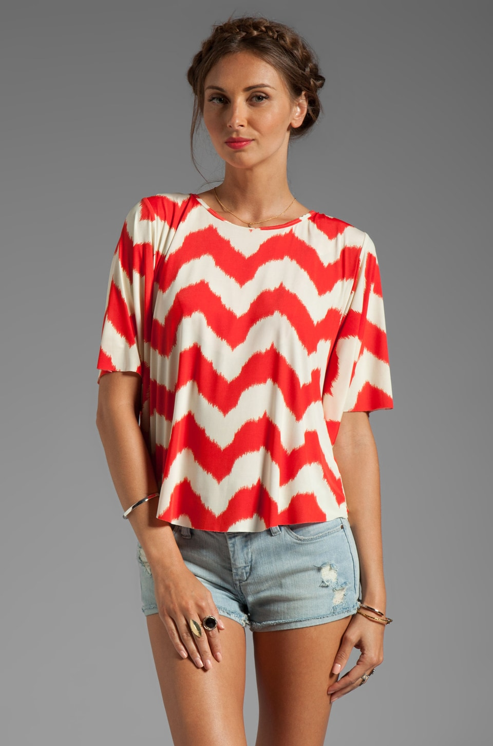 T-Bags LosAngeles Open Back Top in Warm Zig Zag