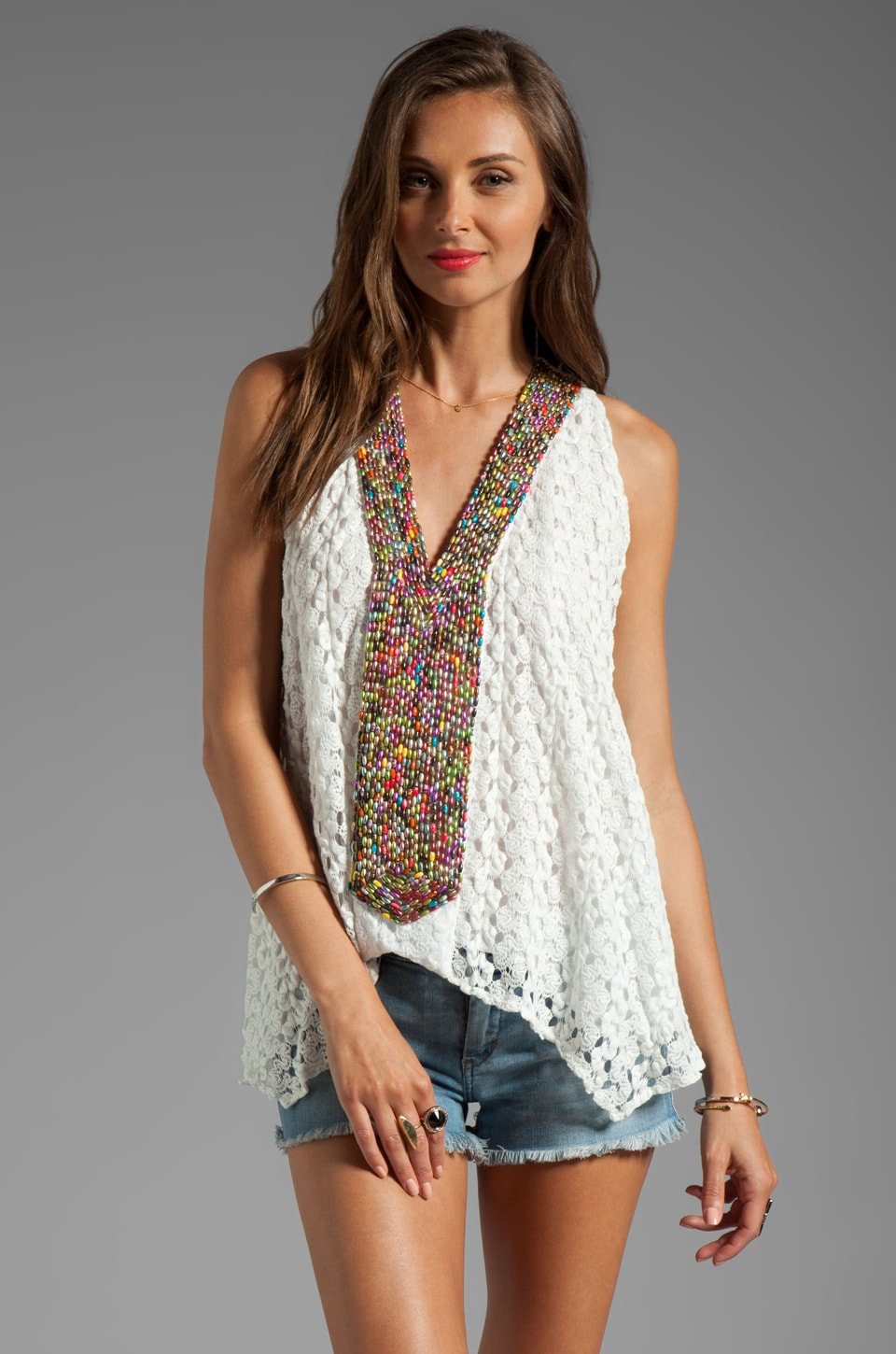 T-Bags LosAngeles Embroidered Crochet Tank in Ivory