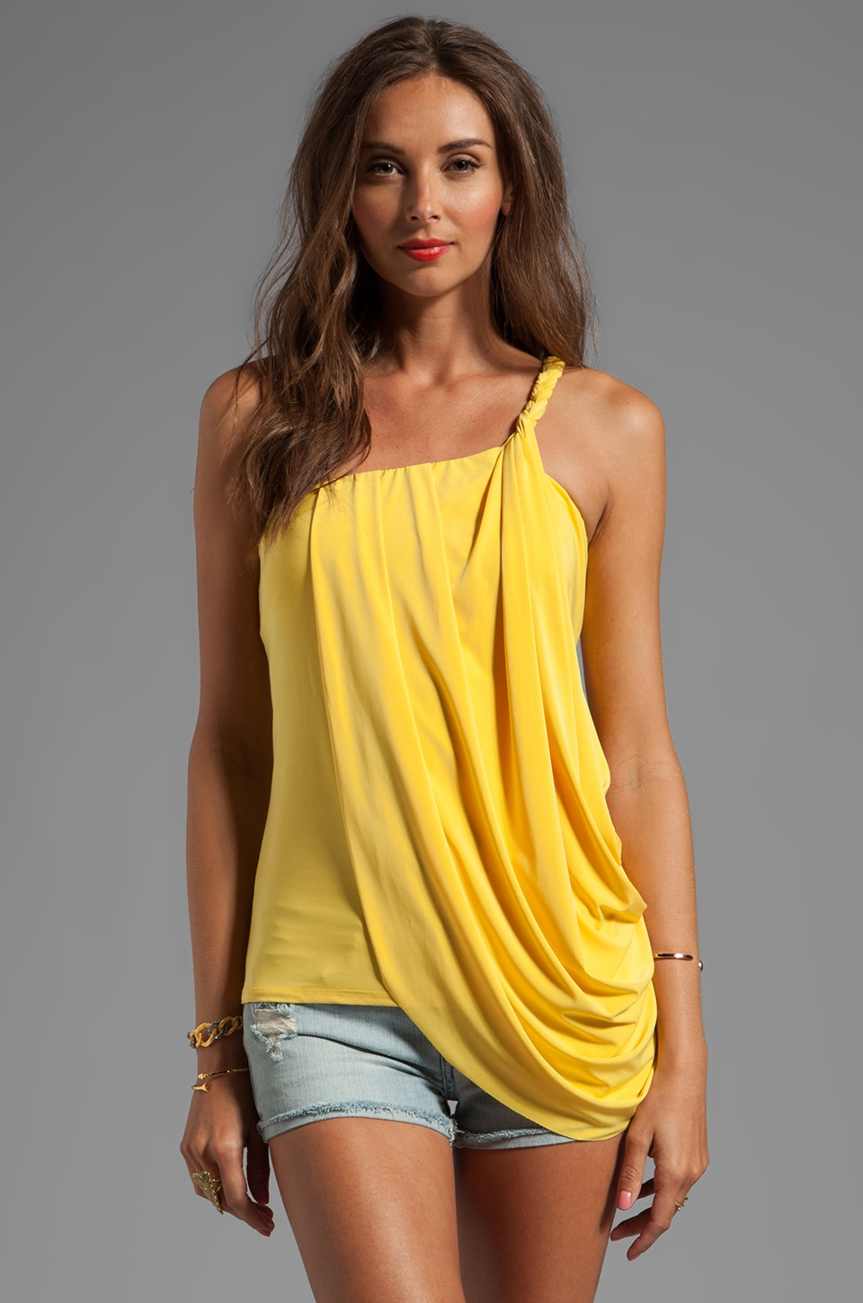 T-Bags LosAngeles One Shoulder Side Drape Tank in Yellow