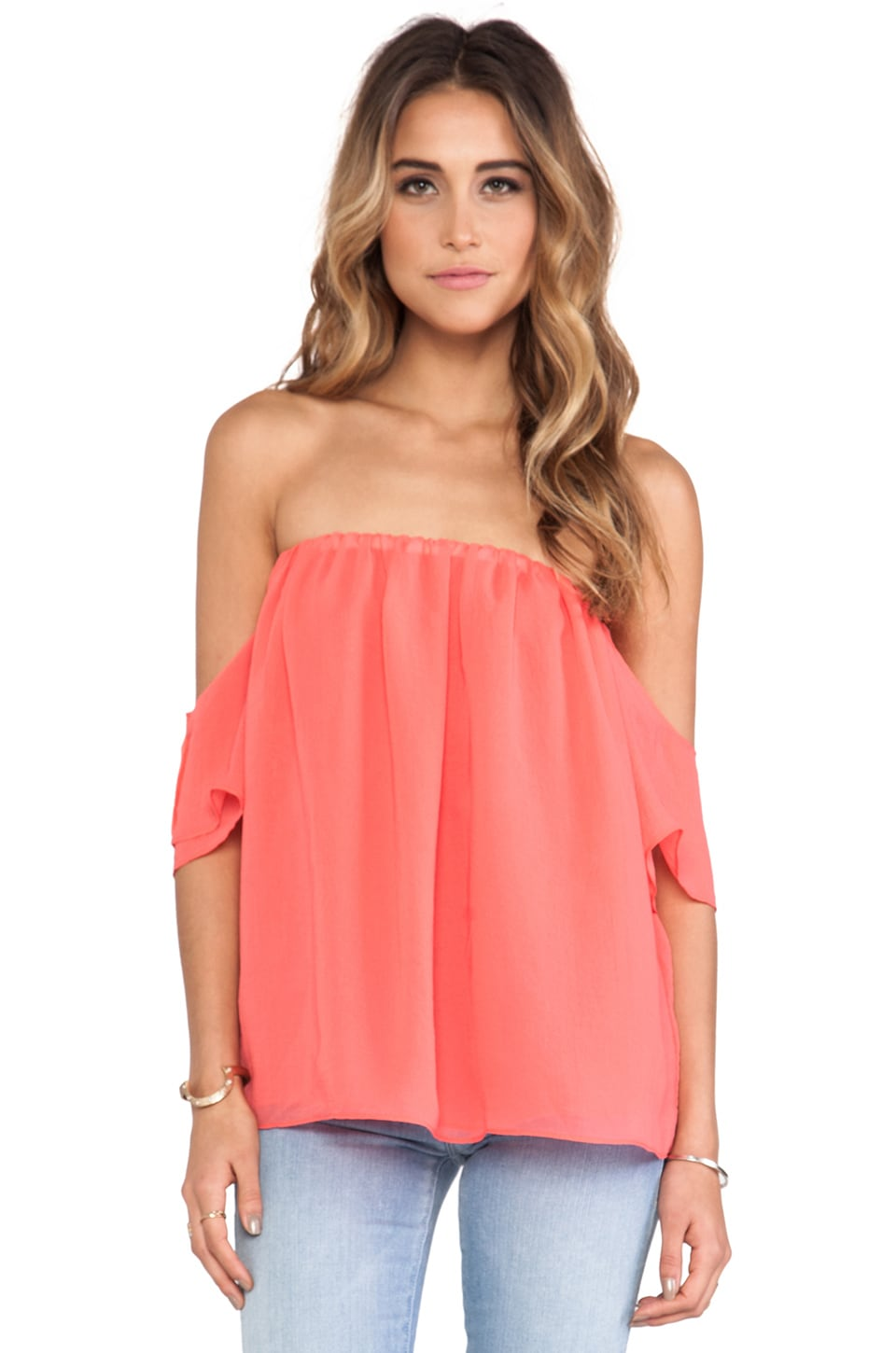 T-Bags LosAngeles Off The Shoulder Top in Watermelon