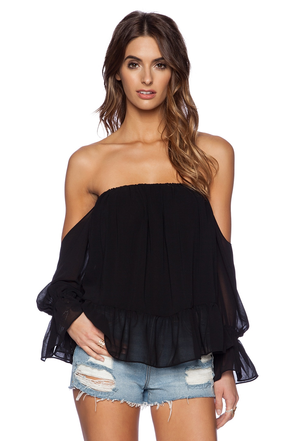 T-Bags LosAngeles Long Sleeve Off the Shoulder Top in Black