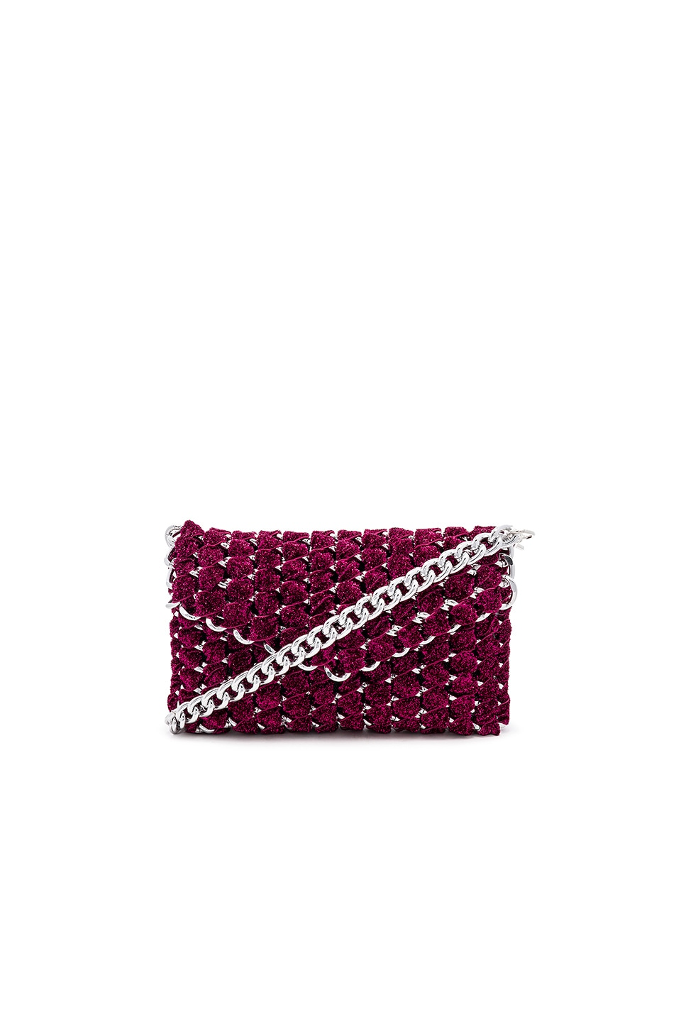 TAMBONITA Eve Shimmer Clutch with Silver Chain in Fuchsia