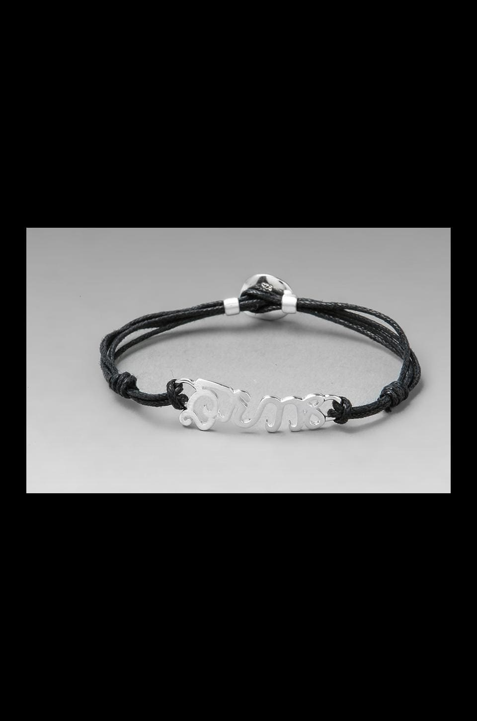 The Brave Collection Silver Cord Bracelet in Black