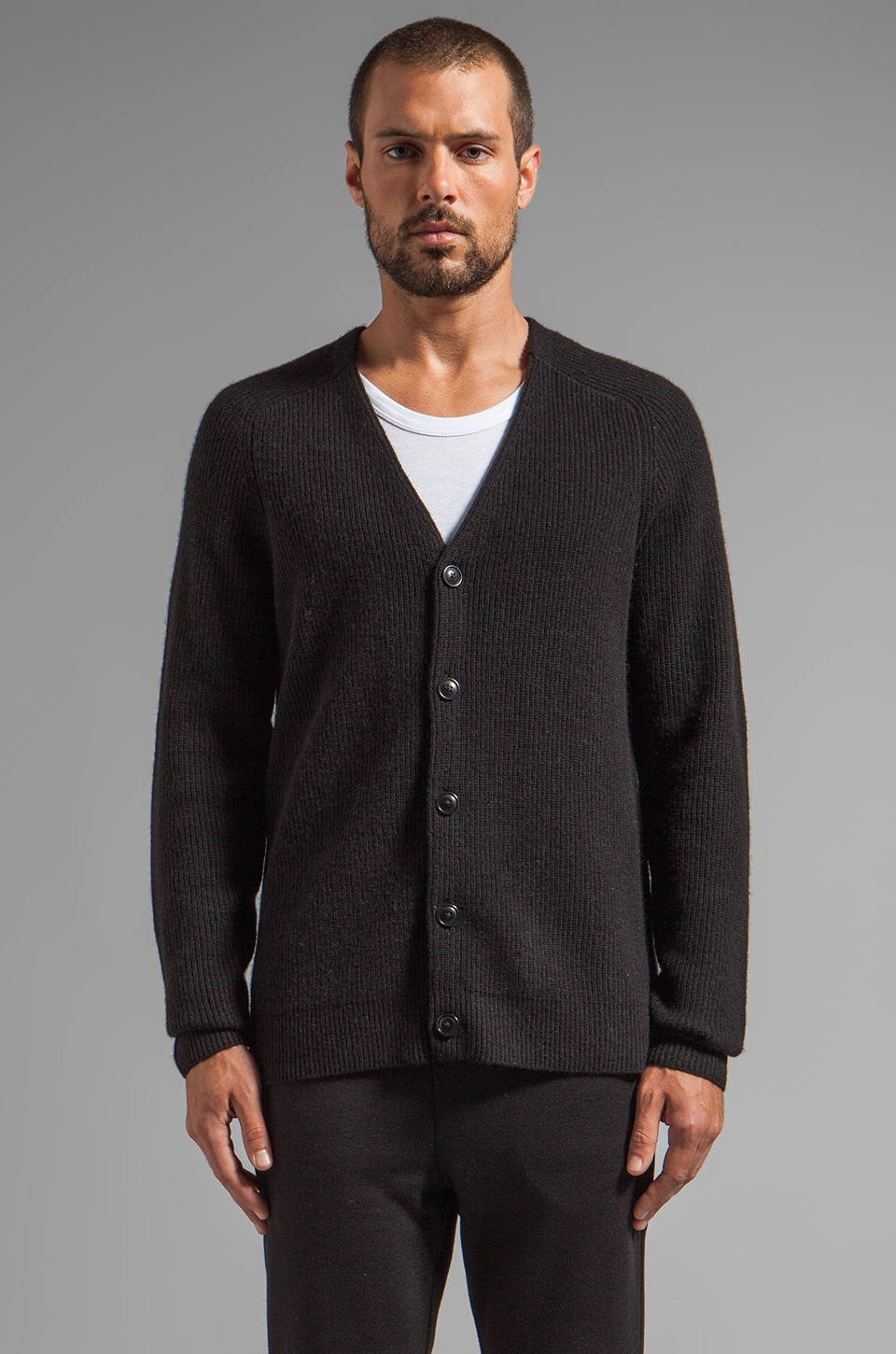 T by Alexander Wang Half Stitch Cardigan in Black