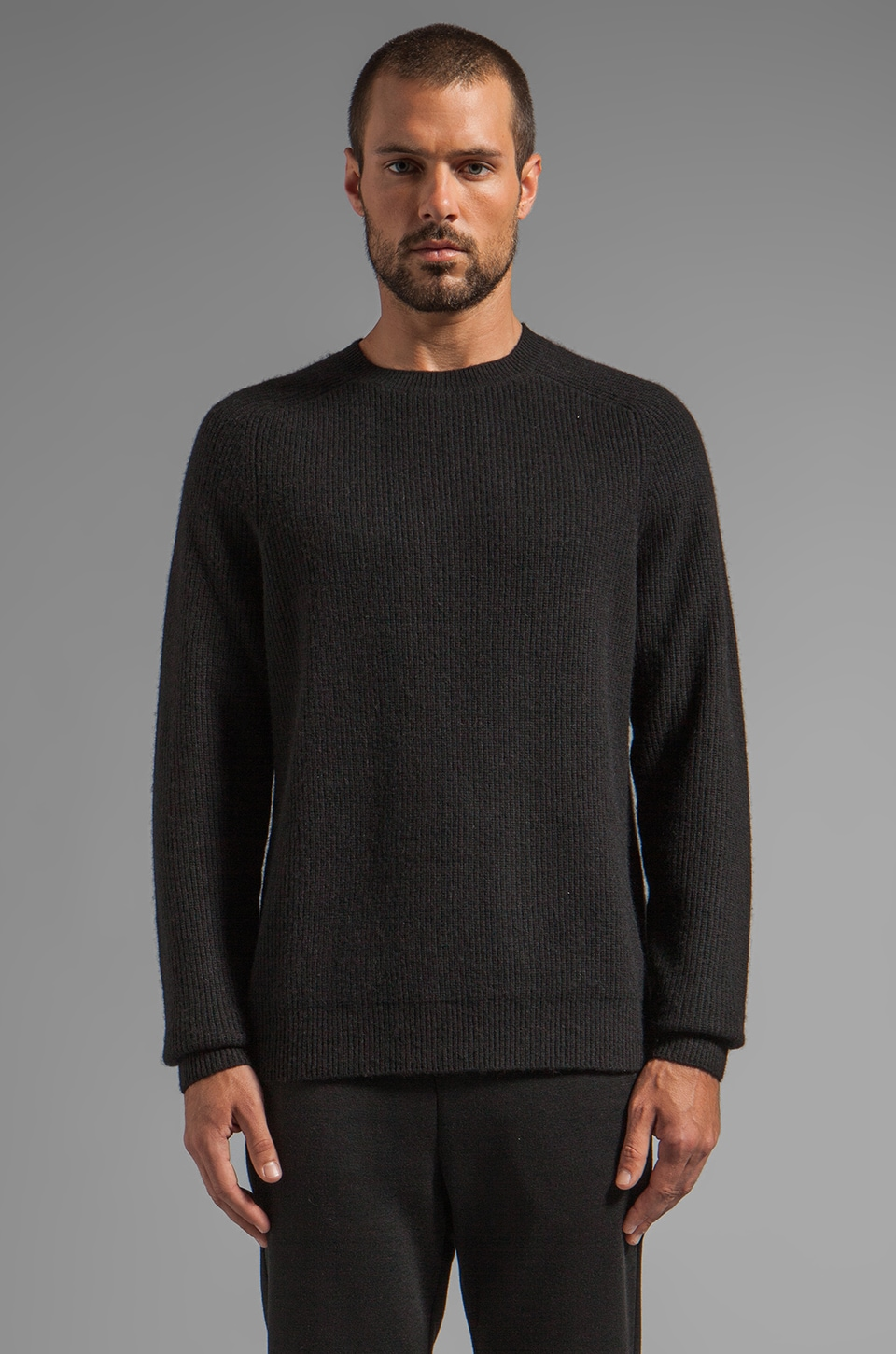 T by Alexander Wang Half Cardigan Crewneck Pullover in Black