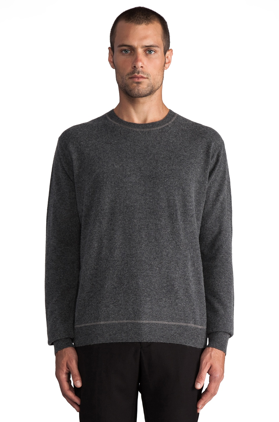 T by Alexander Wang Knit Pullover with Fleeceback in Heather Grey