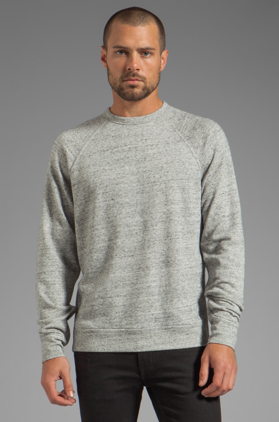 T by Alexander Wang French Terry Sweatshirt in Light Heather Grey