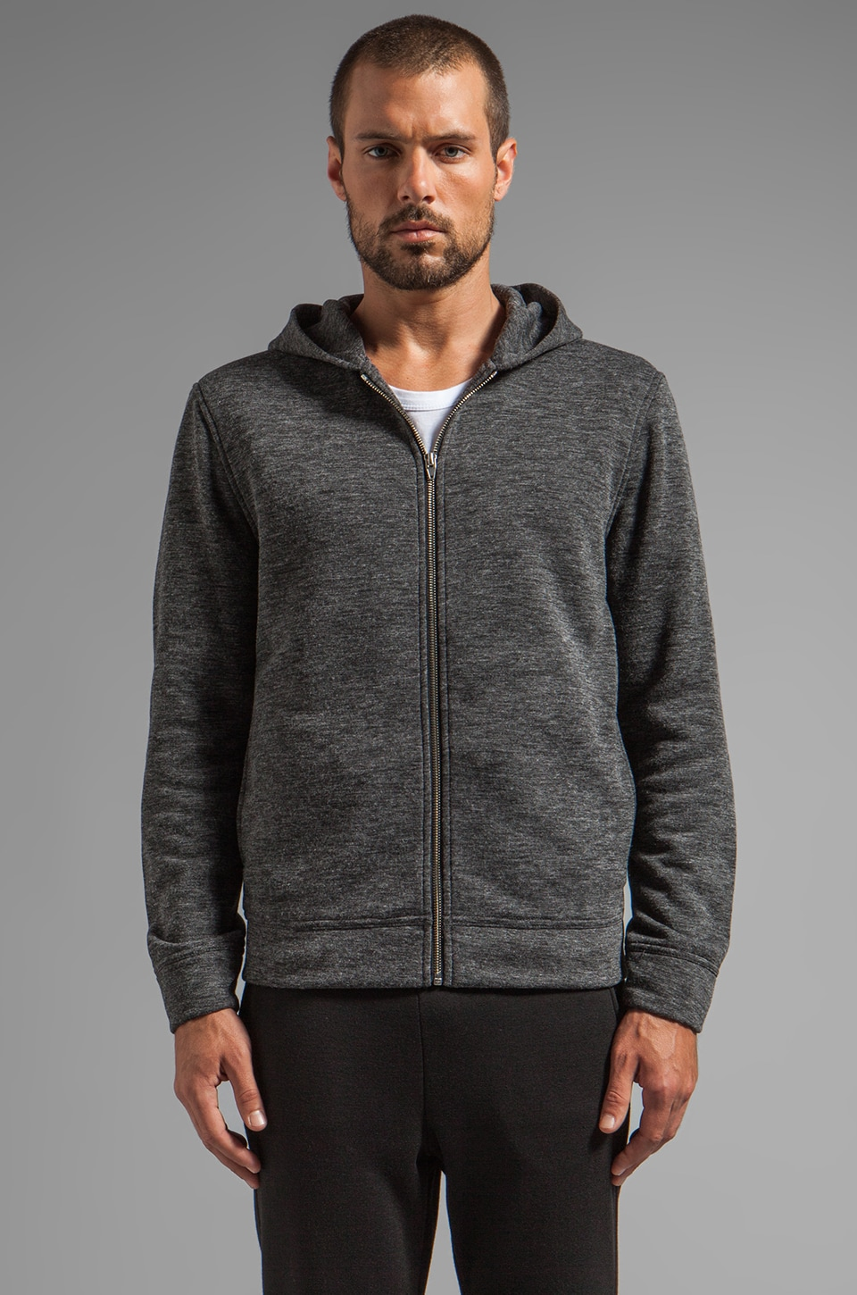 T by Alexander Wang Fleece ZIp Up Hoodie in Charcoal
