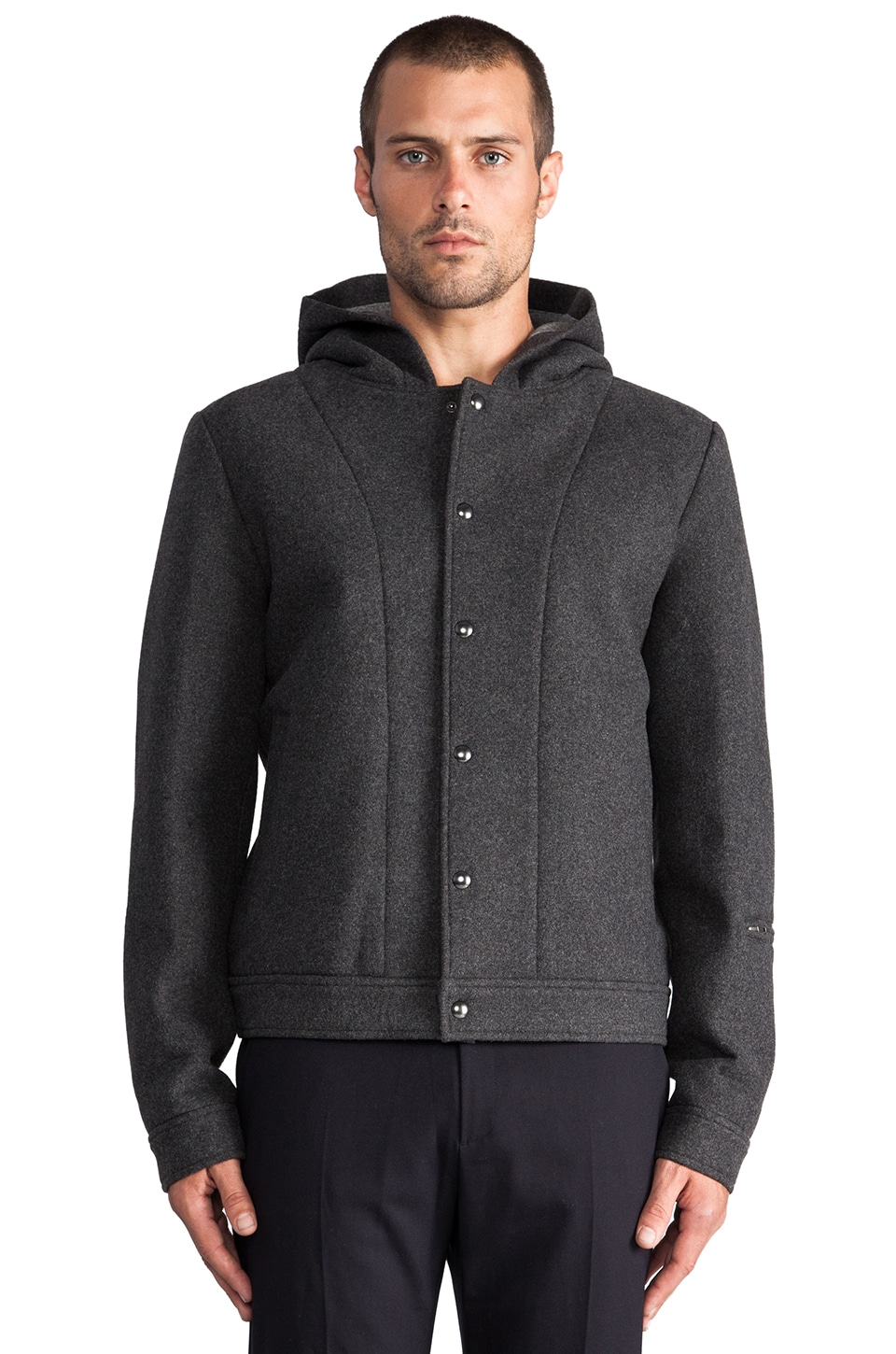 T by Alexander Wang Wool Bonded Neoprene Jacket in Charcoal