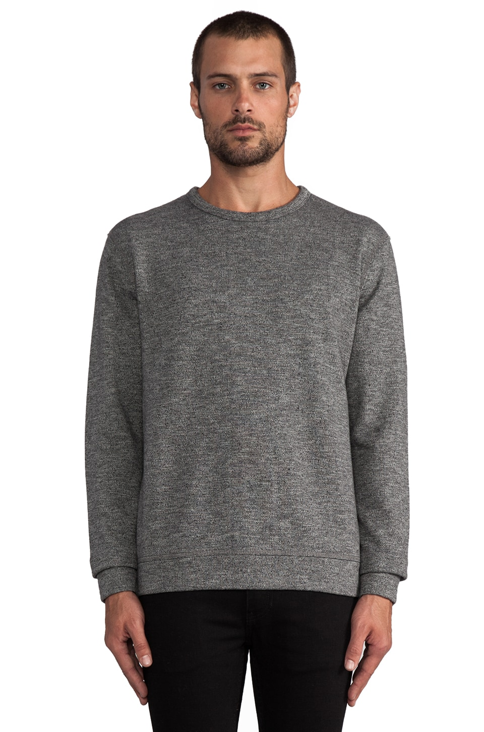 T by Alexander Wang Top Dyed Fleece Crewneck in Charcoal