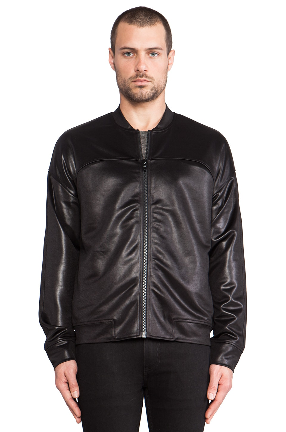 T by Alexander Wang Knit Bomber Jacket in Black