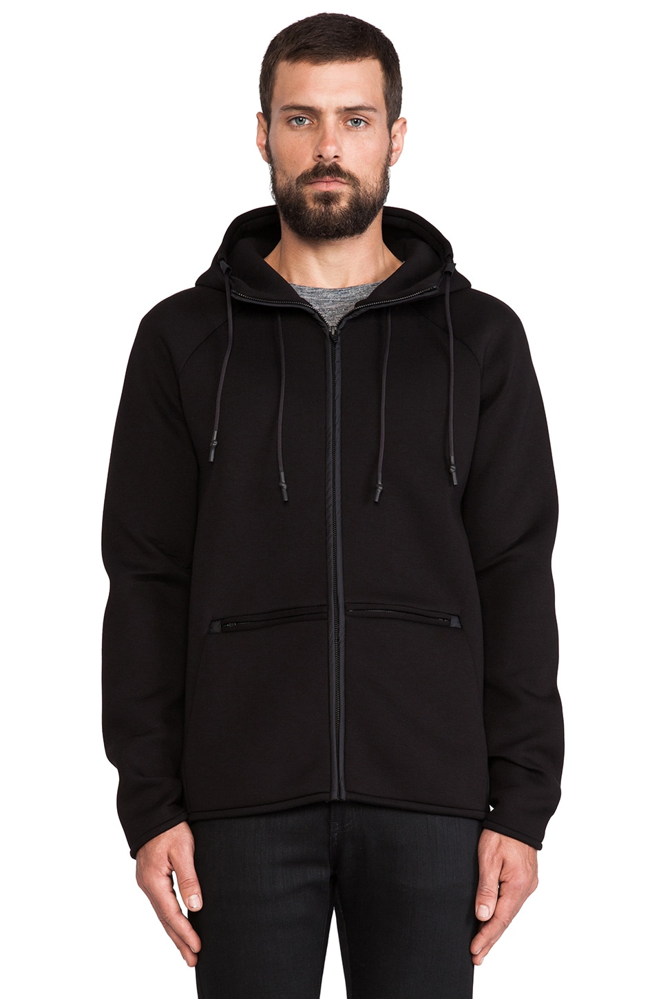 T by Alexander Wang Scuba Double Knit Hooded Sweatshirt in Black