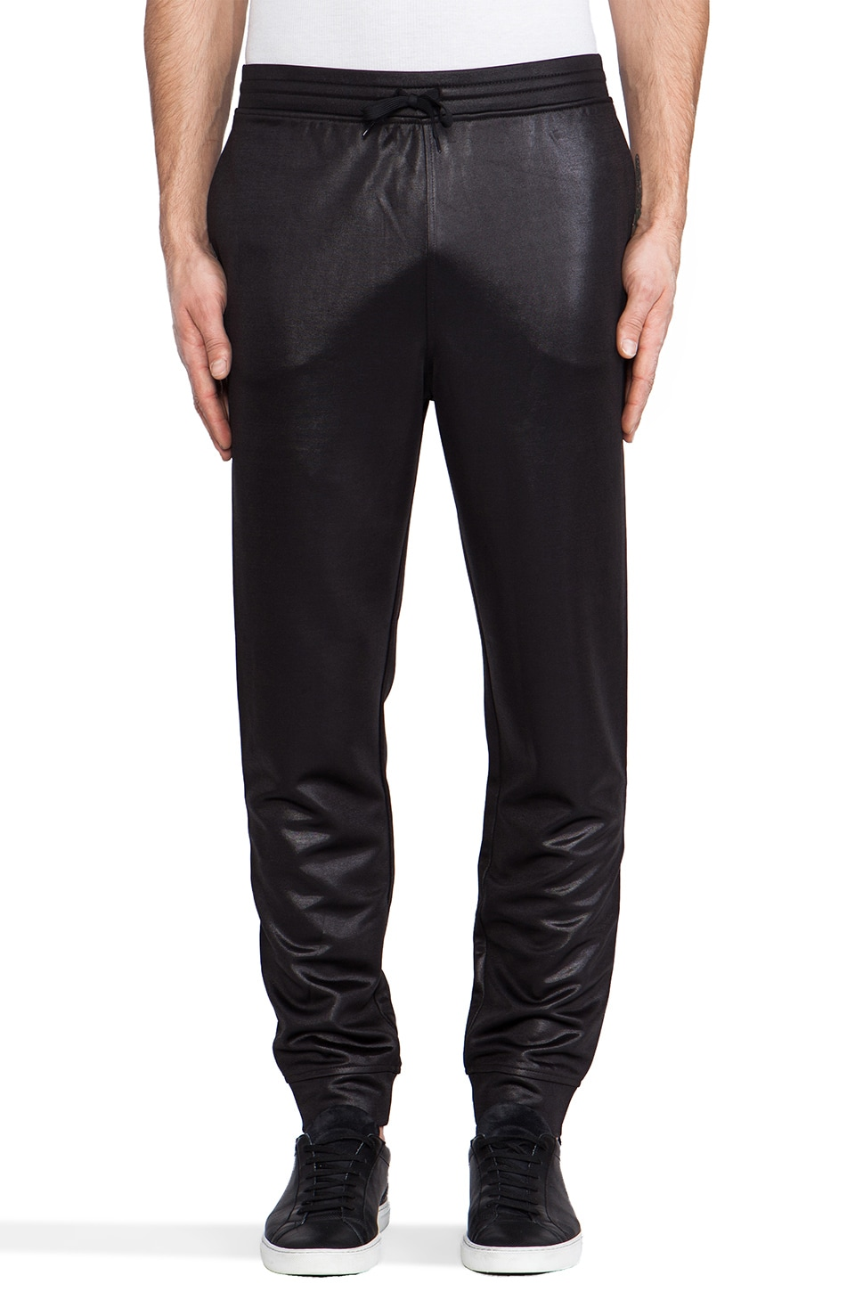 T by Alexander Wang Shiny Double Face Knit Sweatpants in Black