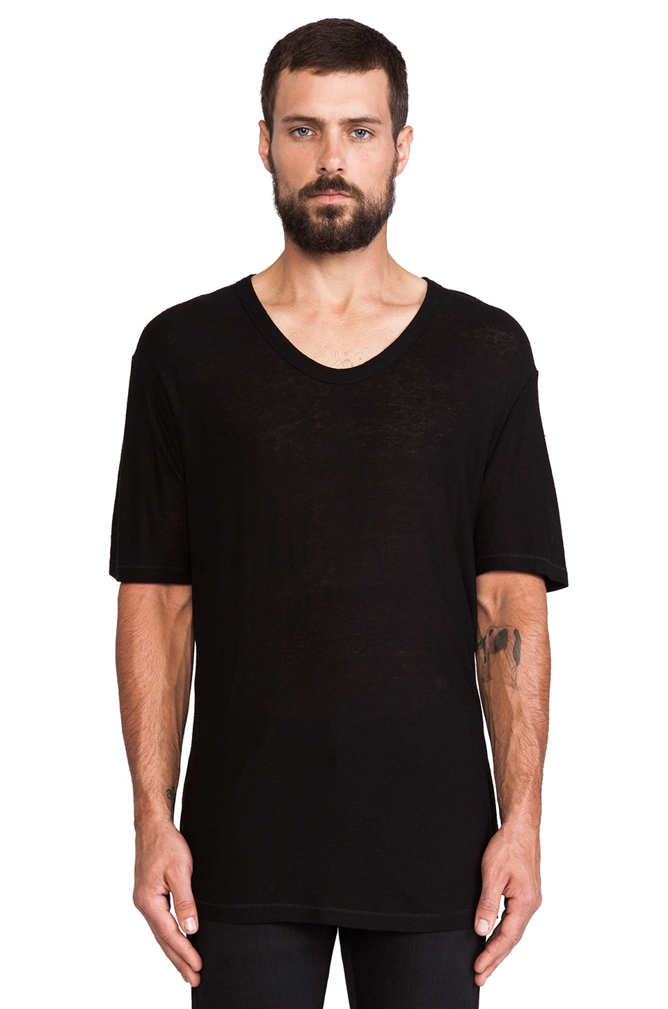 T by Alexander Wang Pilly Low Neck Tee in Black