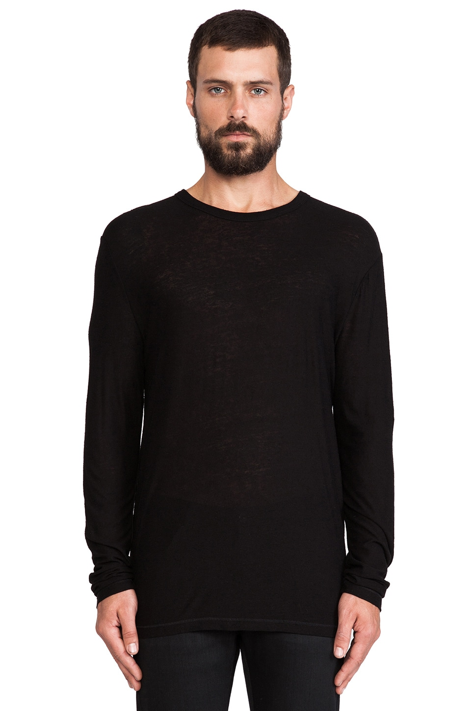 T by Alexander Wang Pilly Long Sleeve Tee in Black