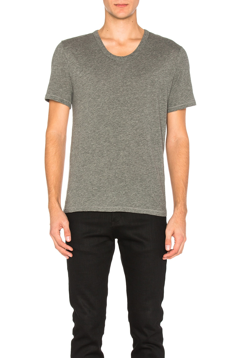 T by Alexander Wang Classic Low Neck Tee in Heather Gray