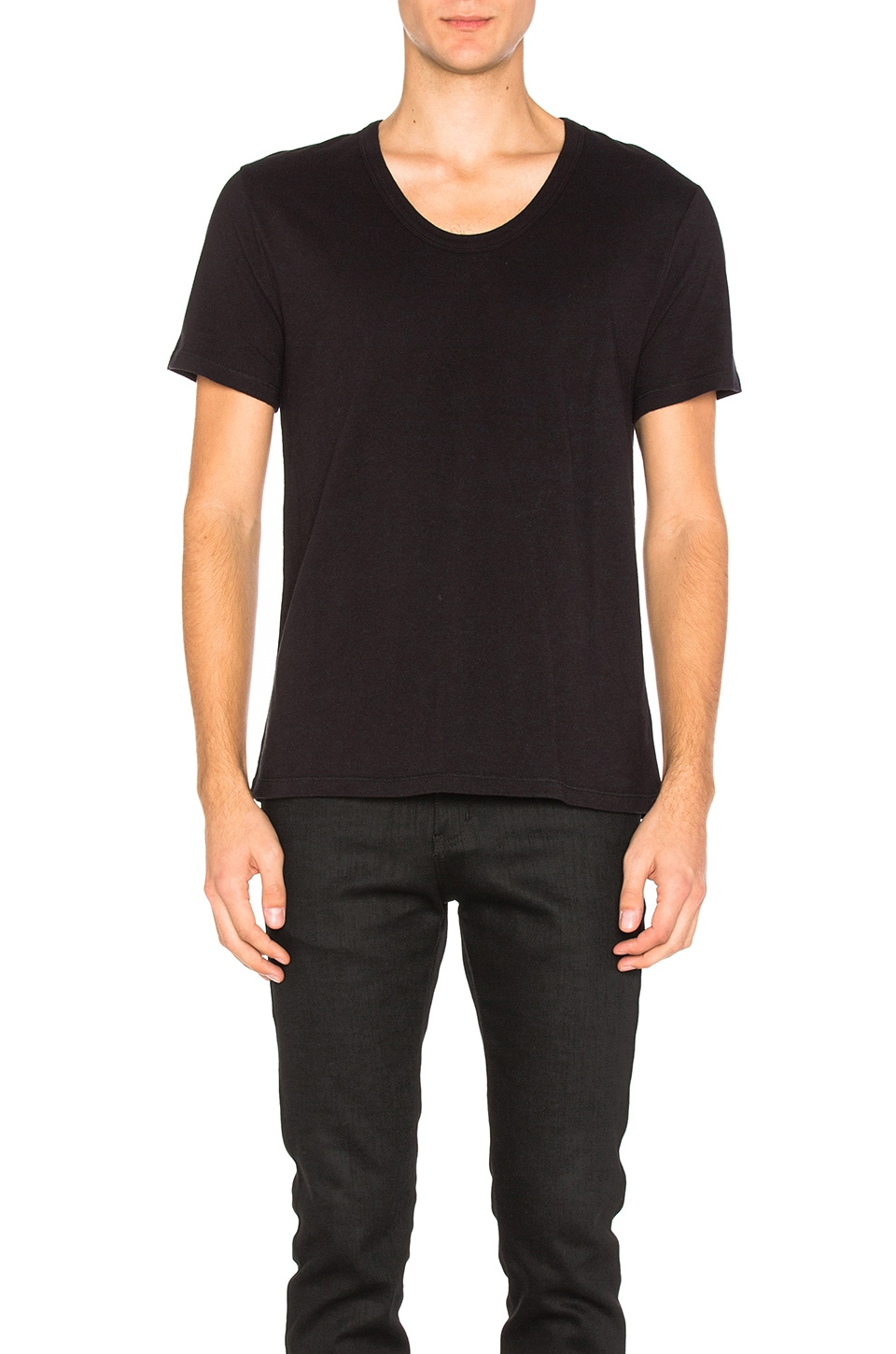T by Alexander Wang Pima Cotton Low Neck Tee in Black