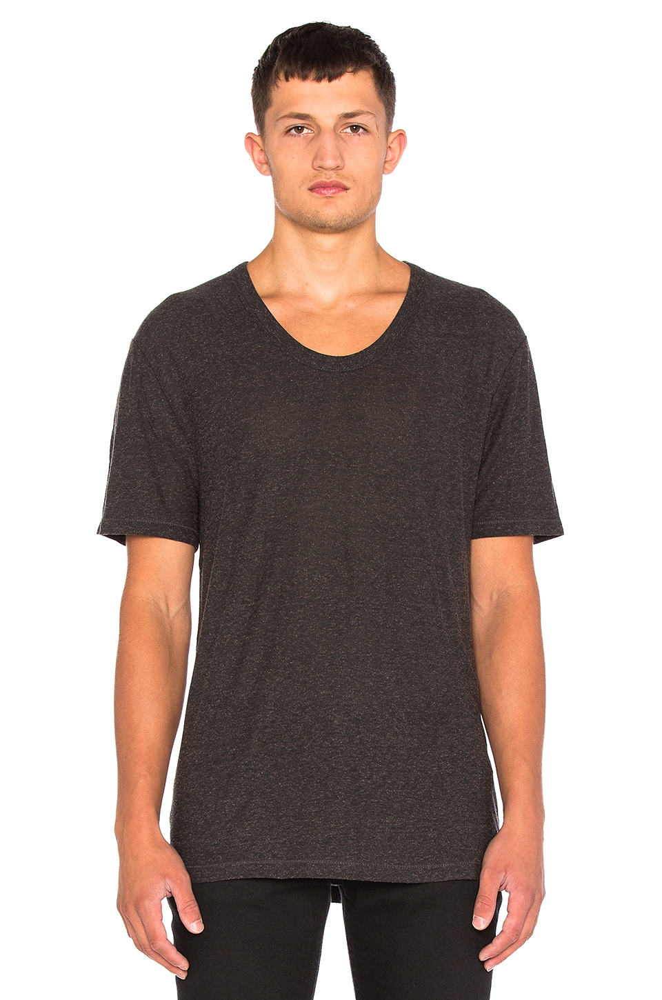 T by Alexander Wang Slub Rayon Silk Low Neck Tee in Charcoal