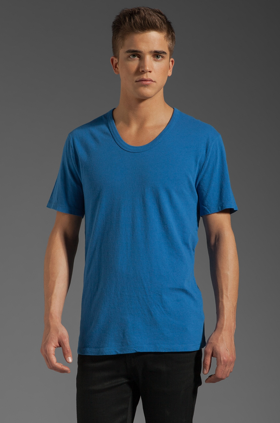 T by Alexander Wang Classic Low Neck Tee in Marine