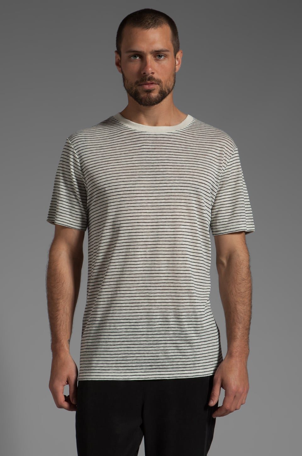 T by Alexander Wang Linen Stripe Tee in Chalk and Ink