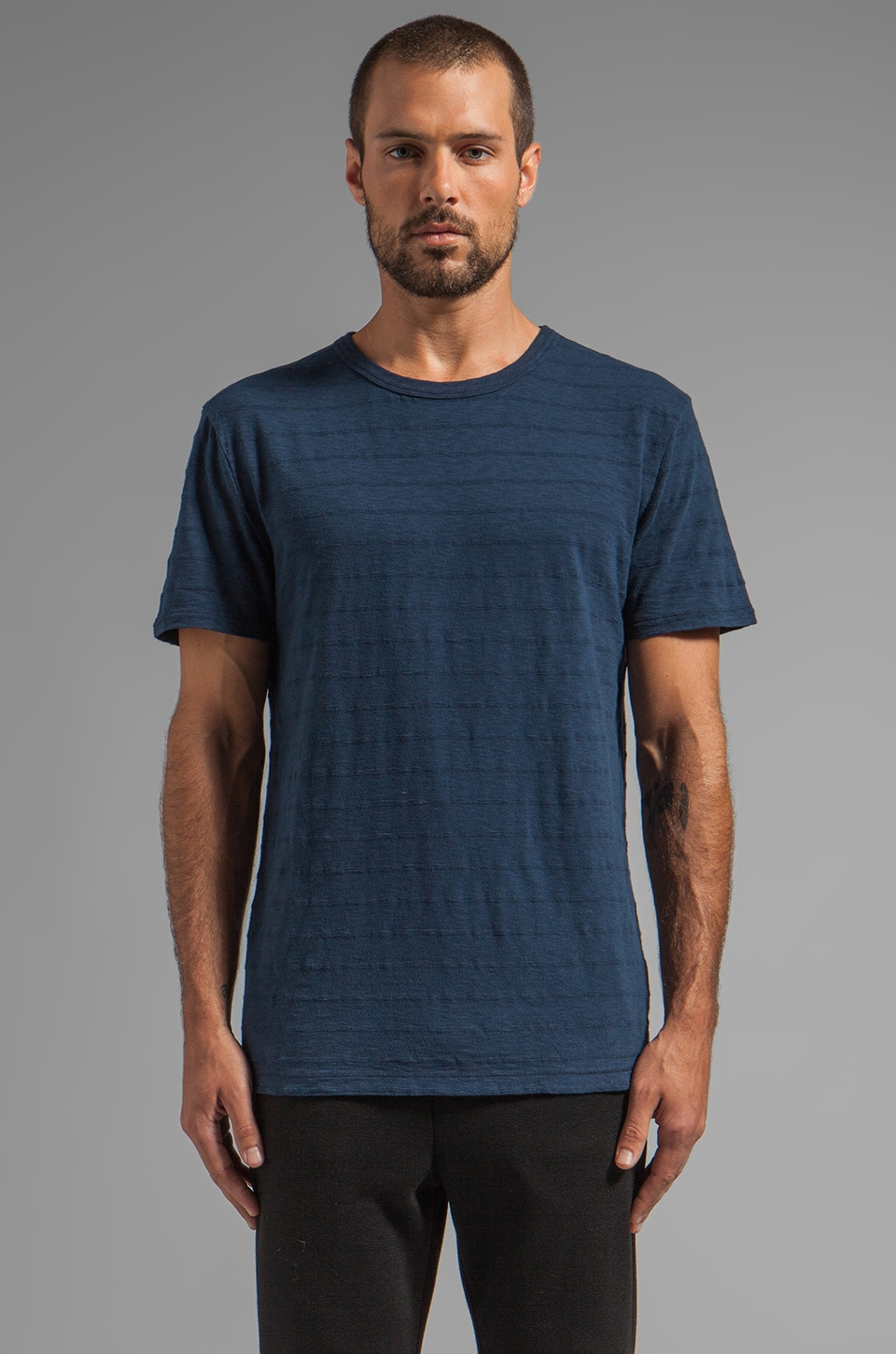 T by Alexander Wang Stripe Slub Crewneck Tee in Indigo