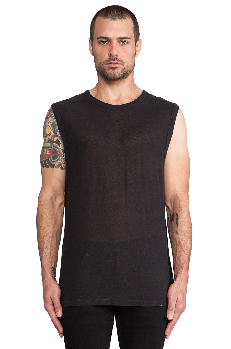 T by Alexander Wang Slub Rayon Silk Muscle Tee in Charcoal