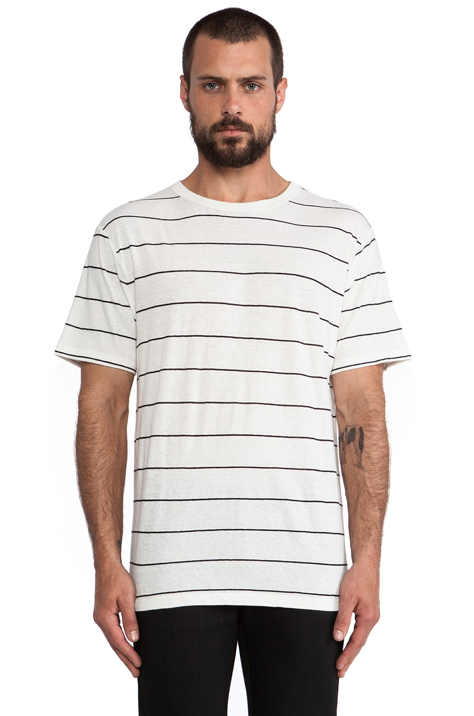 T by Alexander Wang Linen Stripe Short Sleeve Tee in Ivory & Onyx