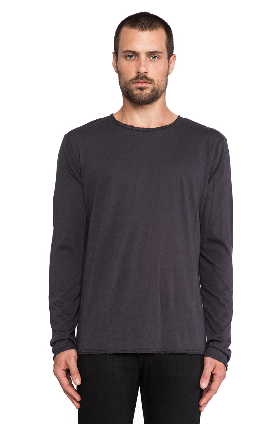 T by Alexander Wang Pigment Dyed Long Sleeve Tee in Fossil