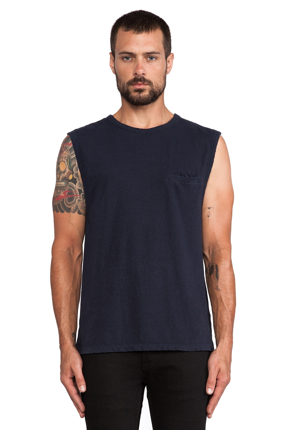 T by Alexander Wang Distressed Slub Cotton Jersey Tank in Ink