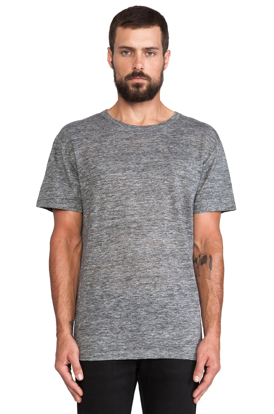 T by Alexander Wang Linen Jersey Crewneck Tee in Heather Grey