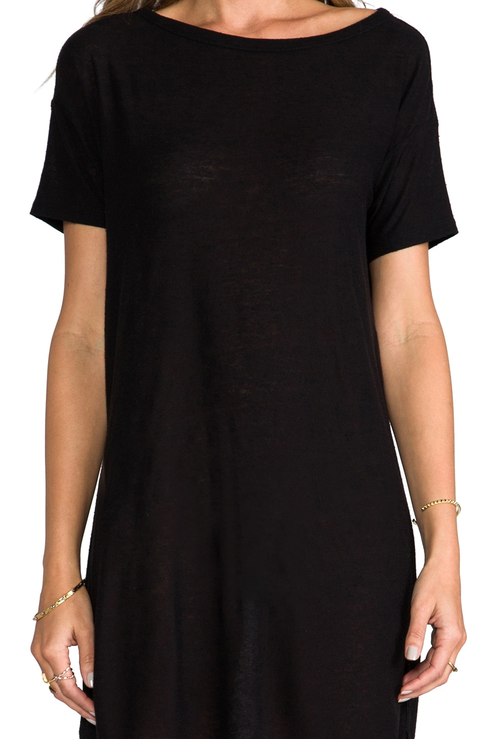 T by Alexander Wang Classic Pilly Boatneck Dress in Black
